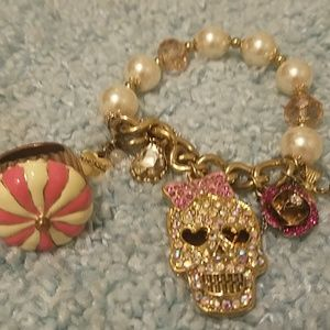 Betsey Johnson carnival pearl bracelet & ring sz 5